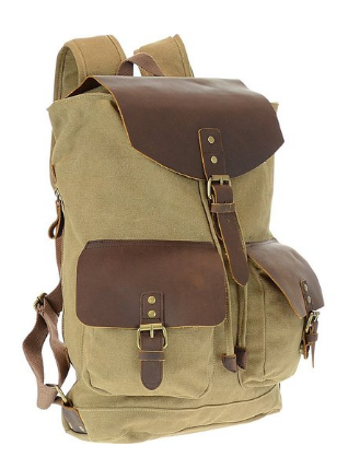 R&R Collections Genuine Leather / Canvas Backpack