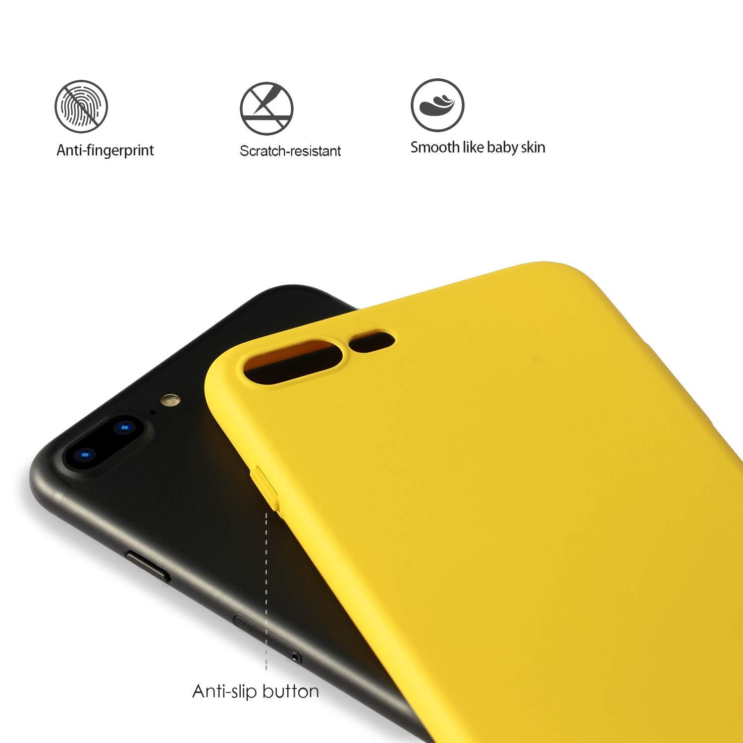 Roopose Ultra Slim Light and Thin Feel Anti-Fingerprints Cell Phone Case Full Protection Hard PC Cover Shell Compatible with iPhone 7/8 Plus