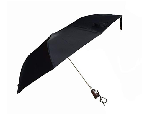 Totes Fashion Auto Open Umbrella 42 Arc - Black with Wood Handle