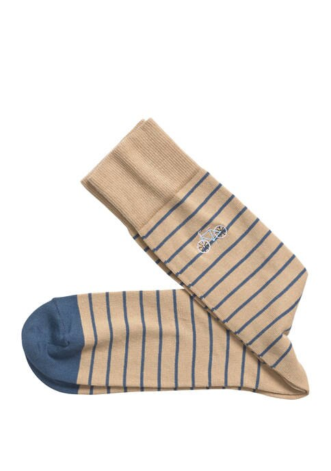 Johnston & Murphy Embroidered Bicycle Stripe Socks