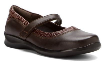 Aetrex Women's E361 Julia Brown Mary Jane Wrap Around Wide Casual Shoe