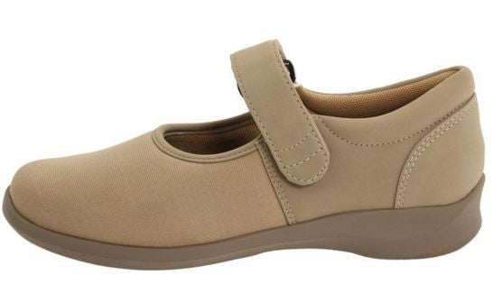 Aetrex Women's E394 Taupe Mary Jane Medium Strap On Flat Shoe