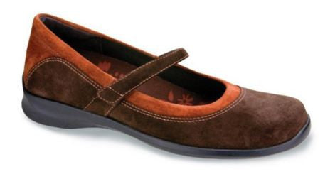 Aetrex Women's E366 Brown Mary Jane Wrap Around Casual X-Wide Shoe