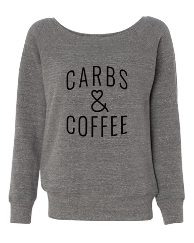 Carbs & Coffee Off Shoulder Wide Neck Sweatshirt