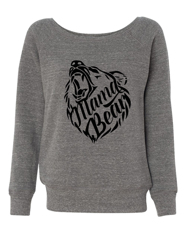Mama Bear Off Shoulder Wide Neck Sweatshirt
