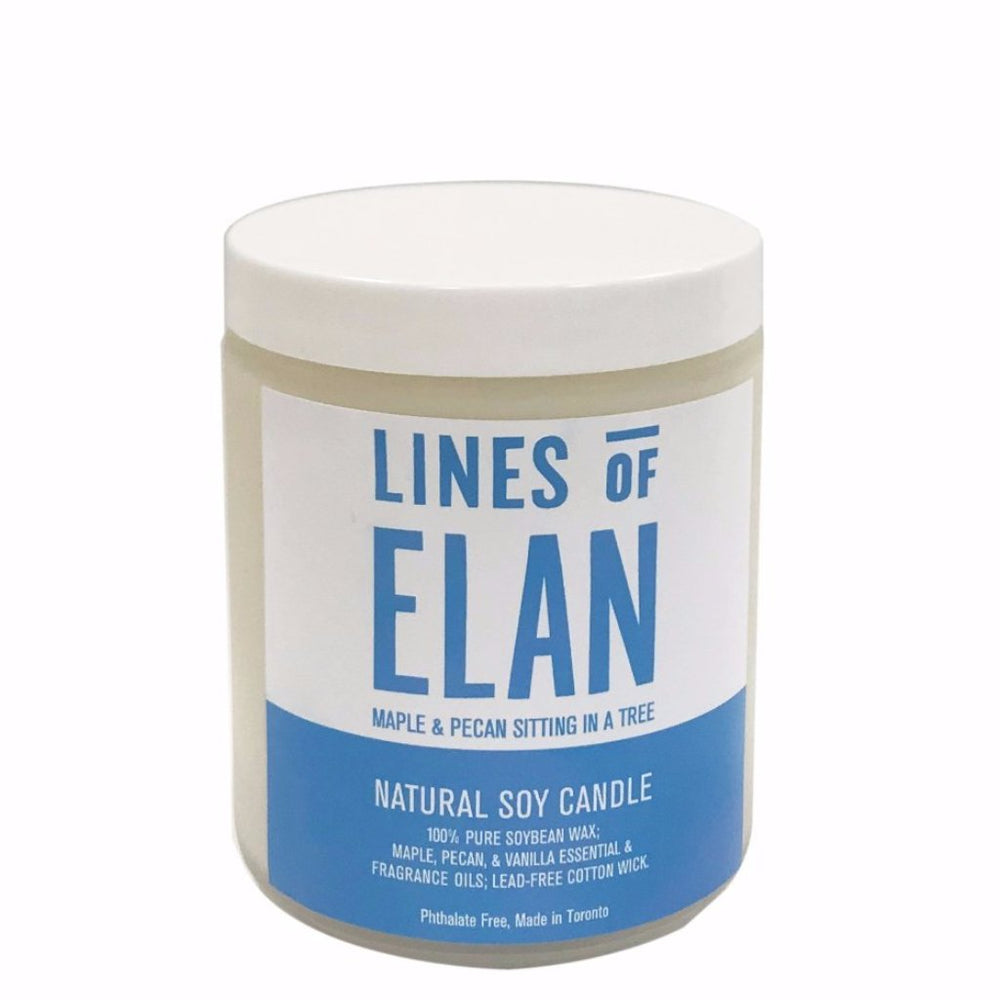 Soy Candle, Maple + Pecan, Lines of Elan
