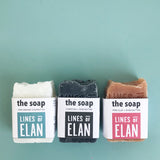 Natural Bar Soaps, Coconut, Pink Clay, Charcoal, Lines of Elan