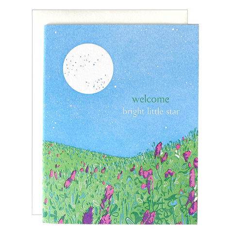 Moonlit Meadow Baby Card
