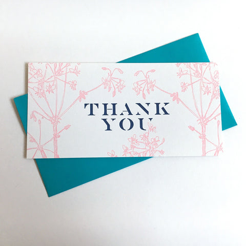 Geranium Thank You Card - Centered