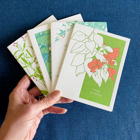 Set of 4 Assorted Spring Green Cards