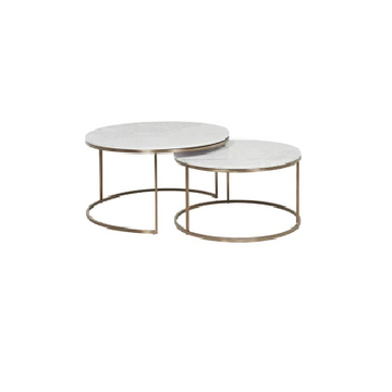 [TG] Round Marble Coffee Table Small (Gold Leg)