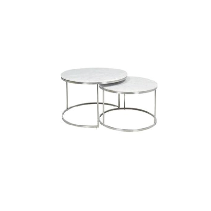 [TG] Round Marble Coffee Table Small (Silver Leg)