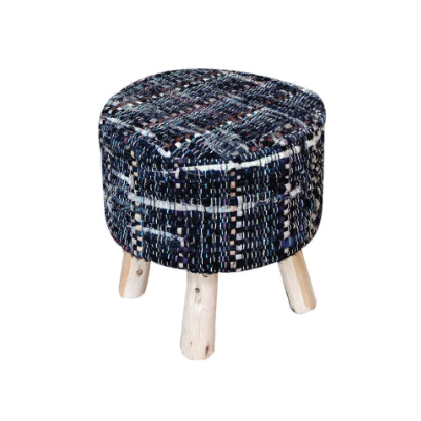 [RUG] Harris Round Stool Grey Blue