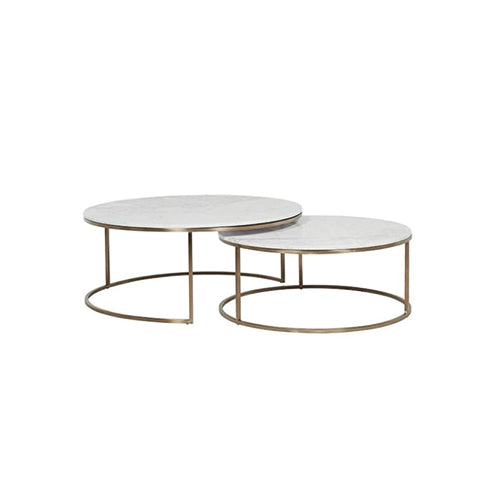 [TG] Round Marble Coffee Table Large (Gold Leg)