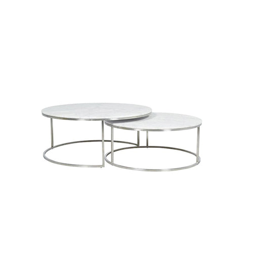 [TG] Round Marble Coffee Table Large (Silver Leg)