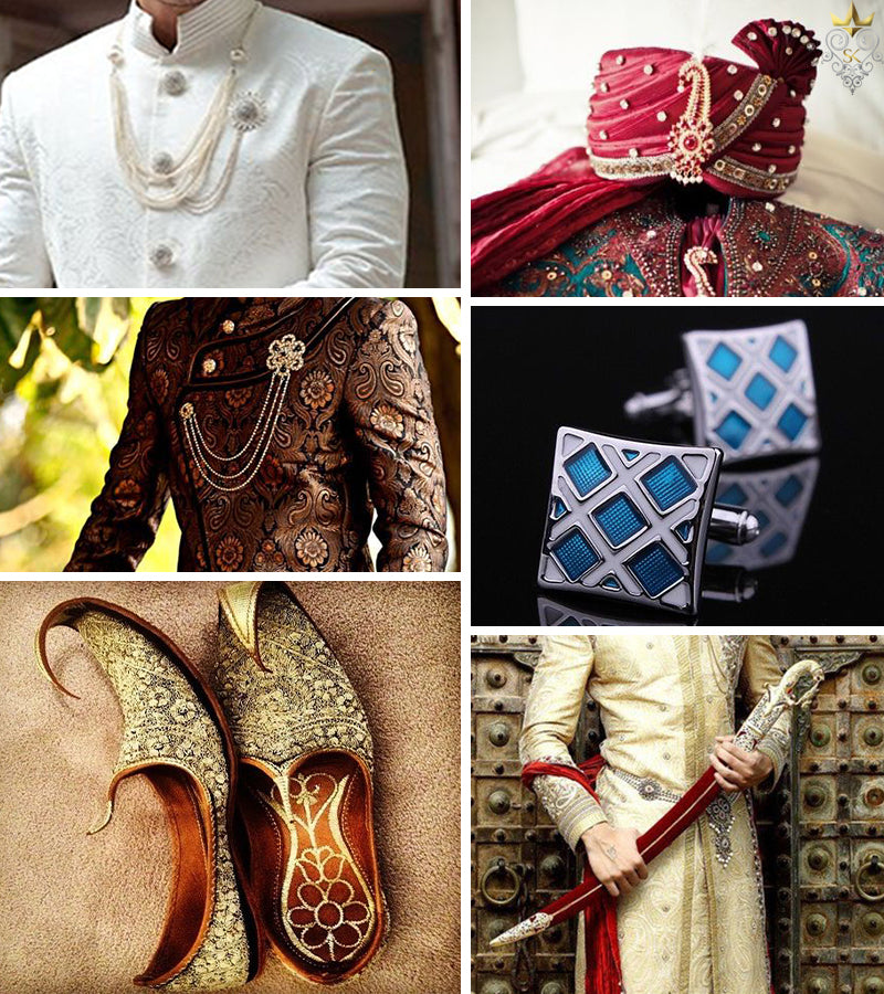 Collage of sherwani accessories