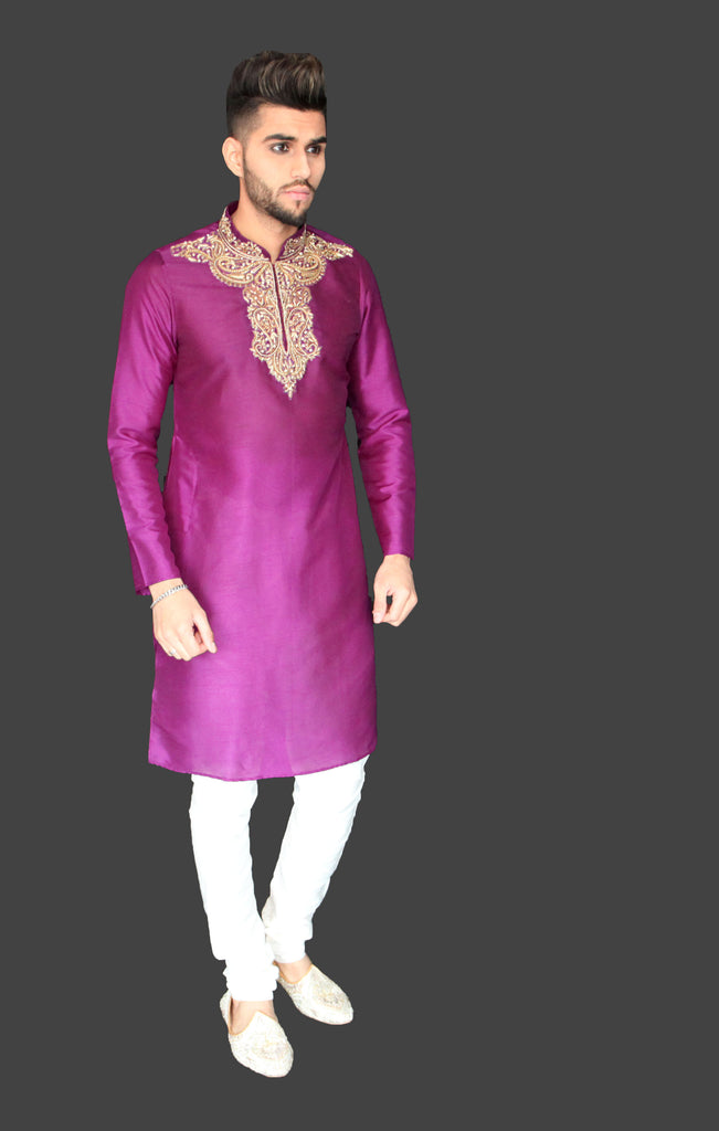 Purple Silk Kurta with Gold Embroidery detail