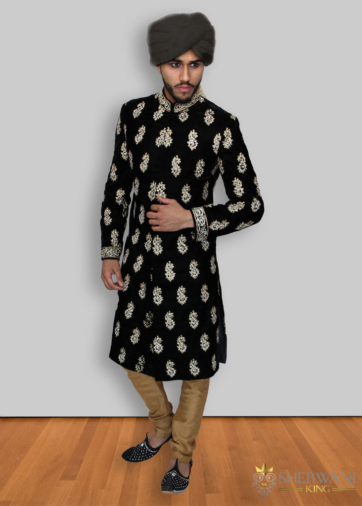 Black Velvet Light Maharaja Sherwani