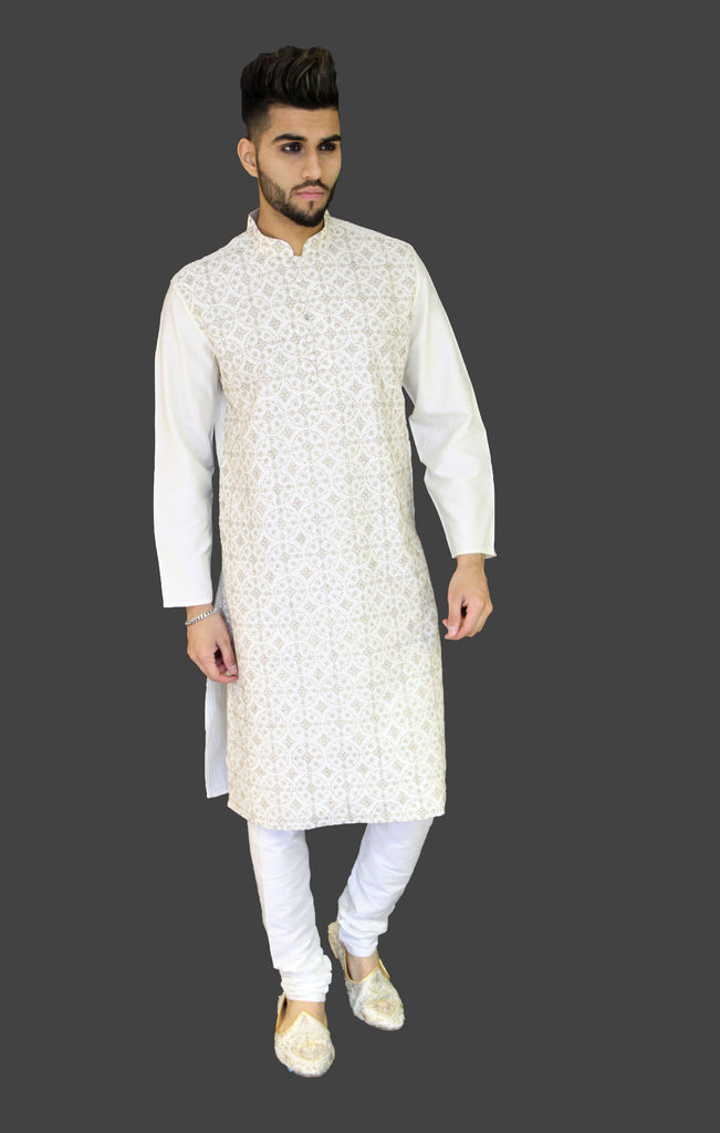 Off White fully embroidered Kurta