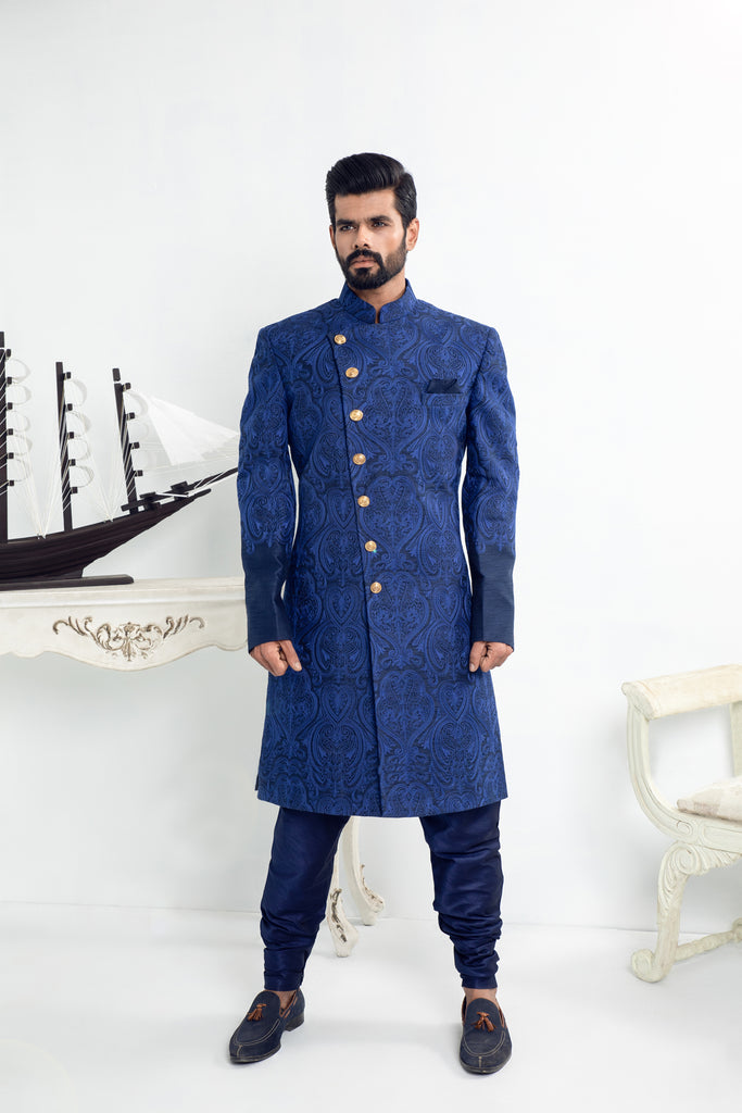 Blue Thread Embroidered Sherwani