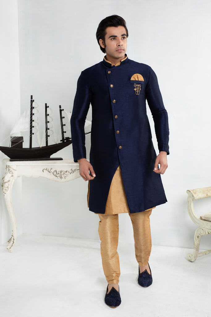 Royal Blue Silk Sherwani with Gold buttons