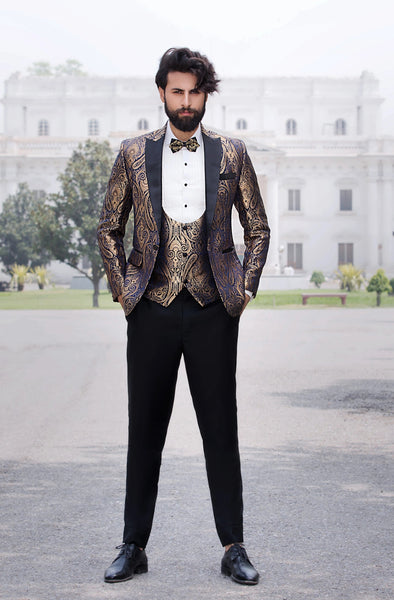 60a7b9036c1 Midnight Blue and Gold Tuxedo Jacket with Paisley Pattern