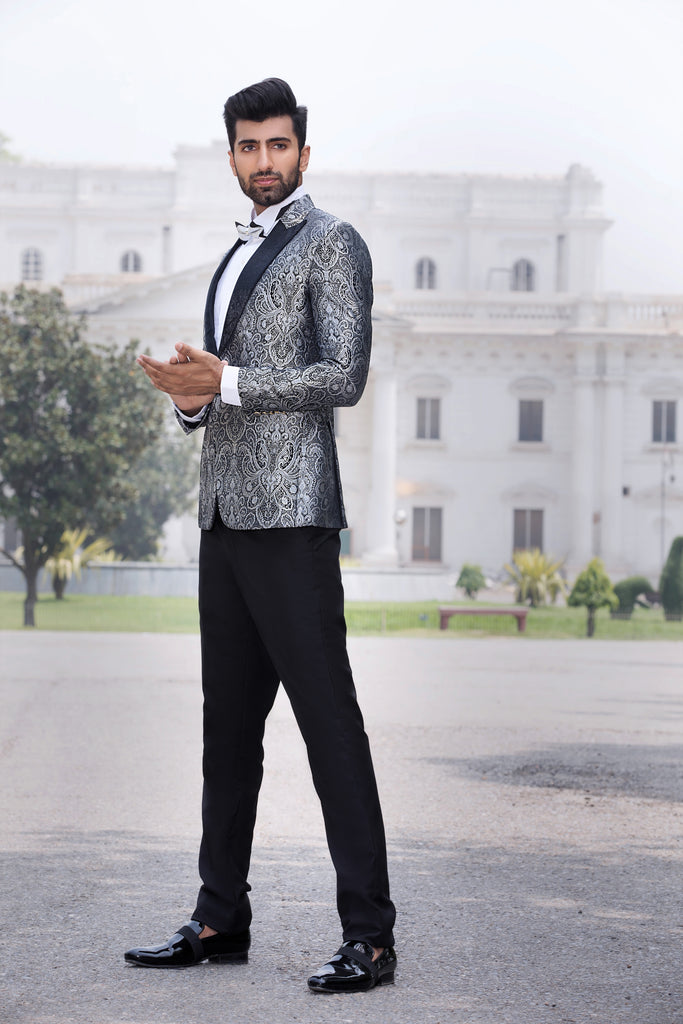 Silver and Black Brocade Tuxedo Jacket and Black Velvet Lapel