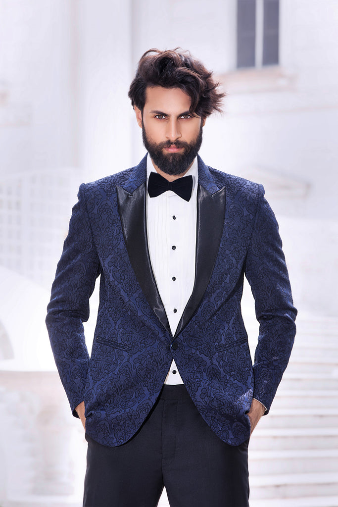 Blue Brocade Tuxedo Jacket with Embossed pattern and Black Silk Lapel