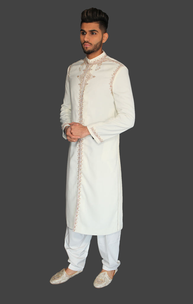 Ivory Bollywood Party Indian Sherwani with Red Embroidery Details