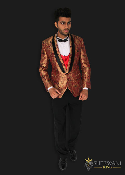 e9d3b045251 Red and Copper Patterned Brocade Tuxedo Jacket with Black Silk Trim