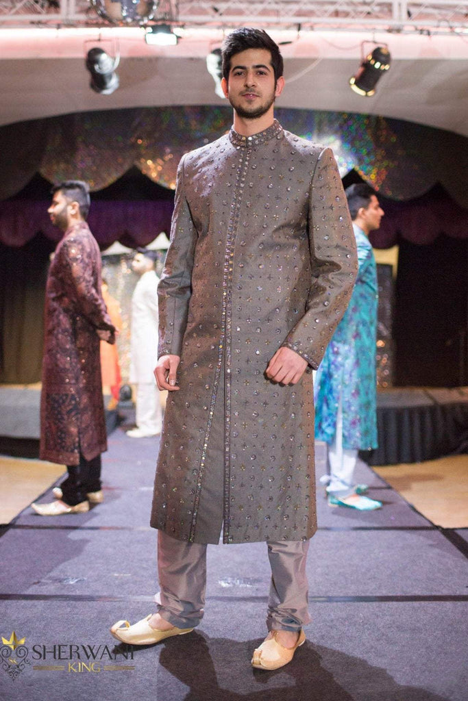 Silver Sherwani with Mirror Embroidery
