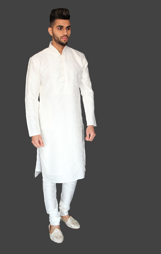 White Silk Brocade Kurta with Gemstone button detail