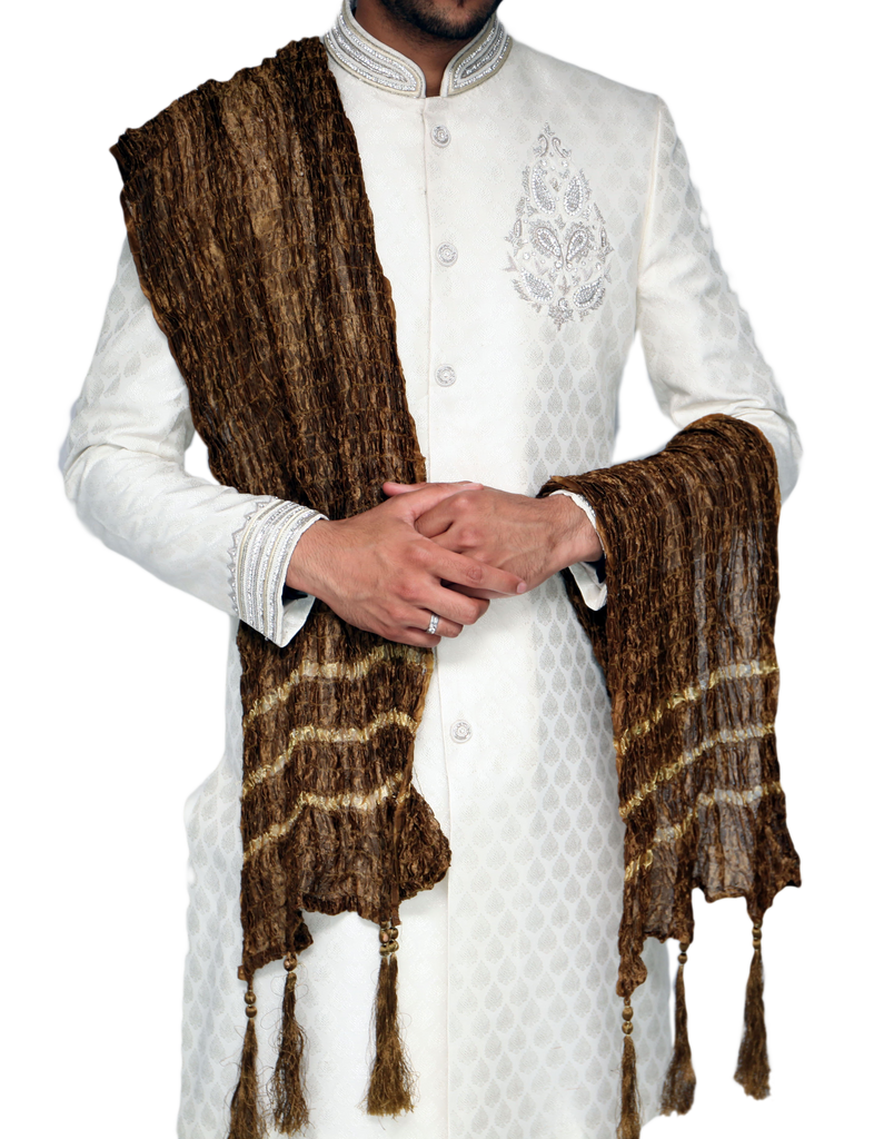 Brown and Gold Patterned Sherwani Scarf