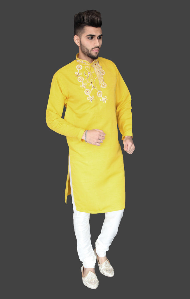Yellow Silk Kurta with Chest Embroidery detail