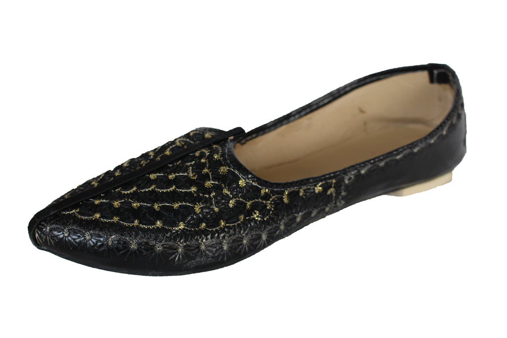 Black Leather Mojari Khussa Shoe with Gold and Silver Embroidery