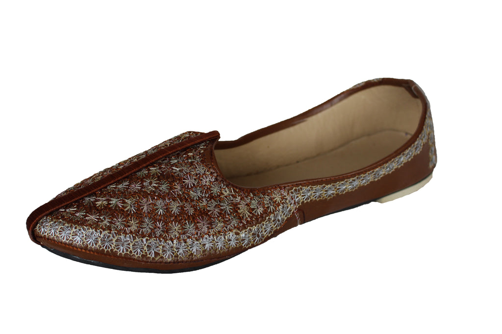 Brown Leather Mojari Khussa shoe with Silver Embroidery