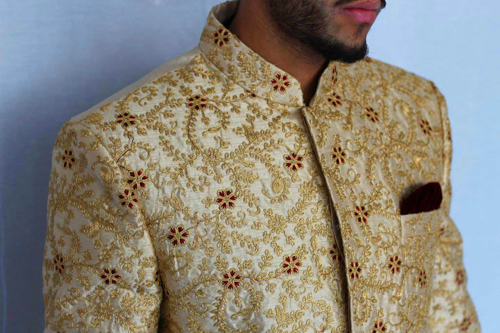 Gold Silk Sherwani with Gold and Maroon Embroidery