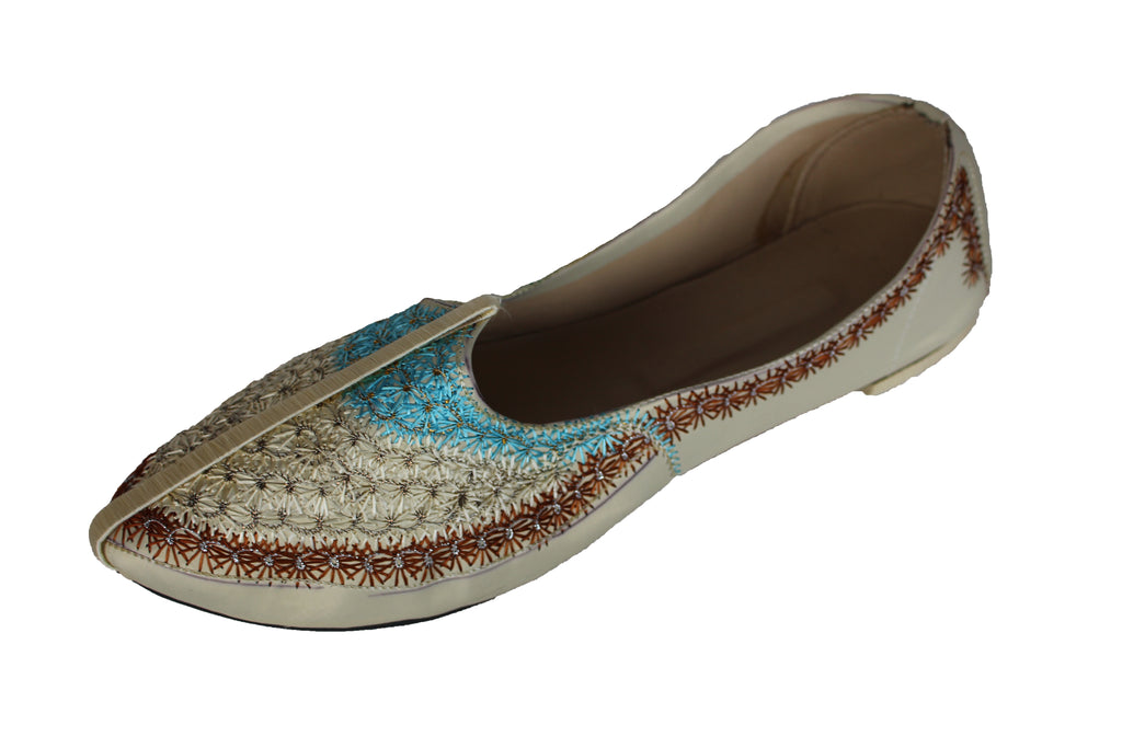 Cream Mojari Khussa Shoe with Blue and Brown Embroidery