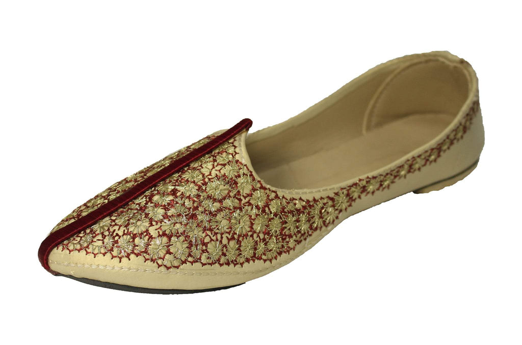 Gurdaspur- Cream Mojri Khussa Shoes - Sherwani King - - 1