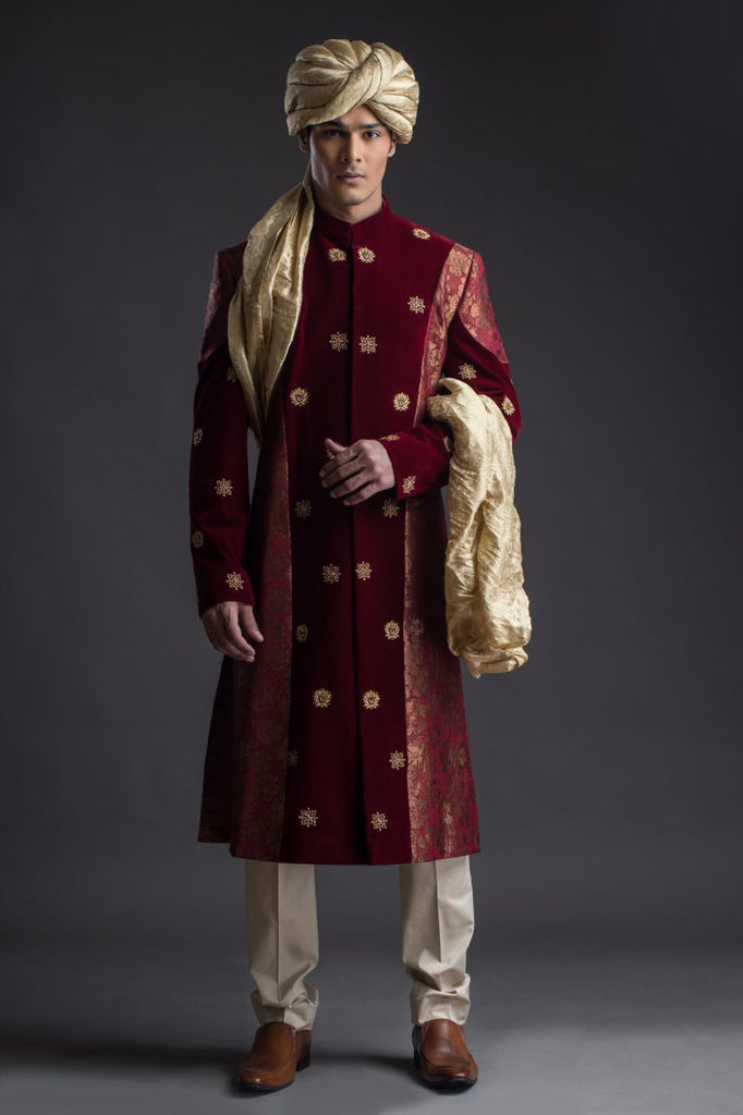 Deep Red Velvet Sherwani with Brocade side panels