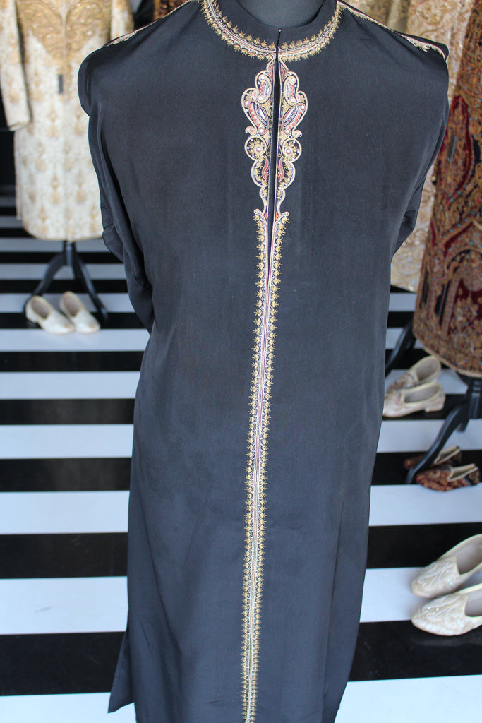 Black Sherwani style Salwar Kameez with Multicoloured embroidery
