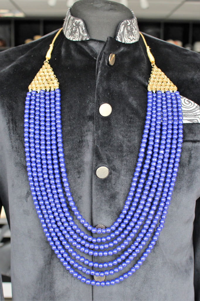 Mens Blue and Gold Pearl Haar Necklace Mala