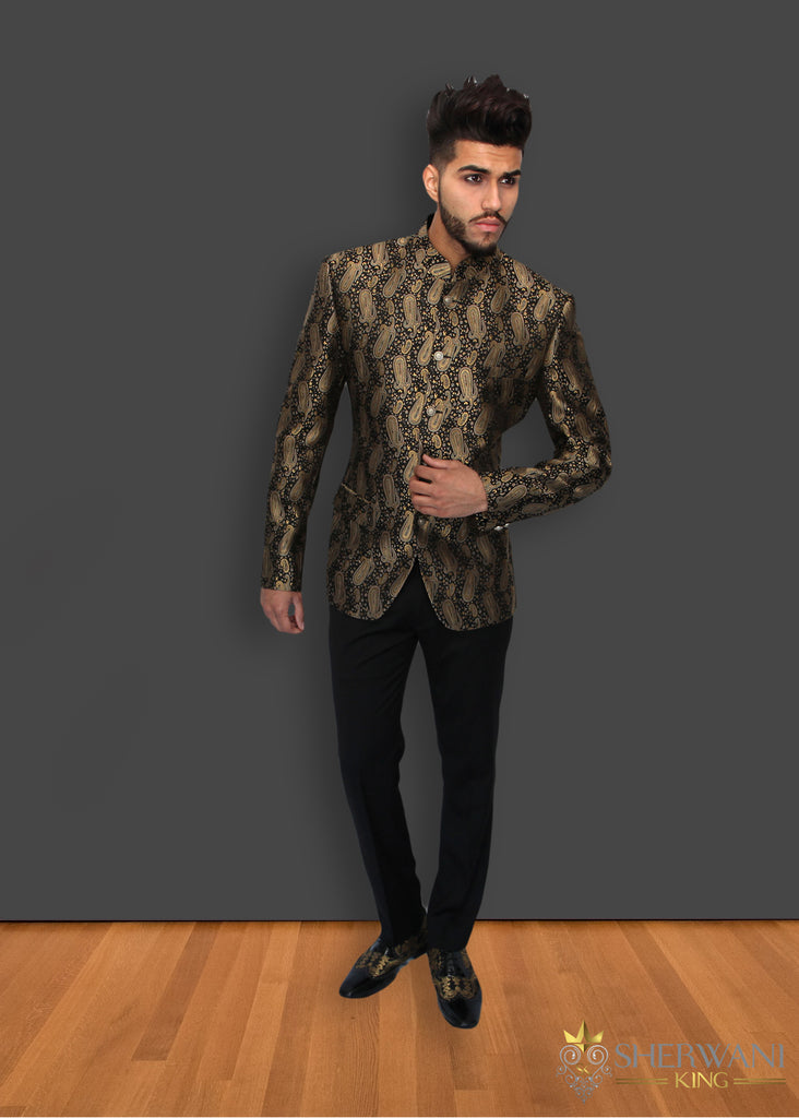 Black and Gold Paisley Brocade Jodhpuri Suit