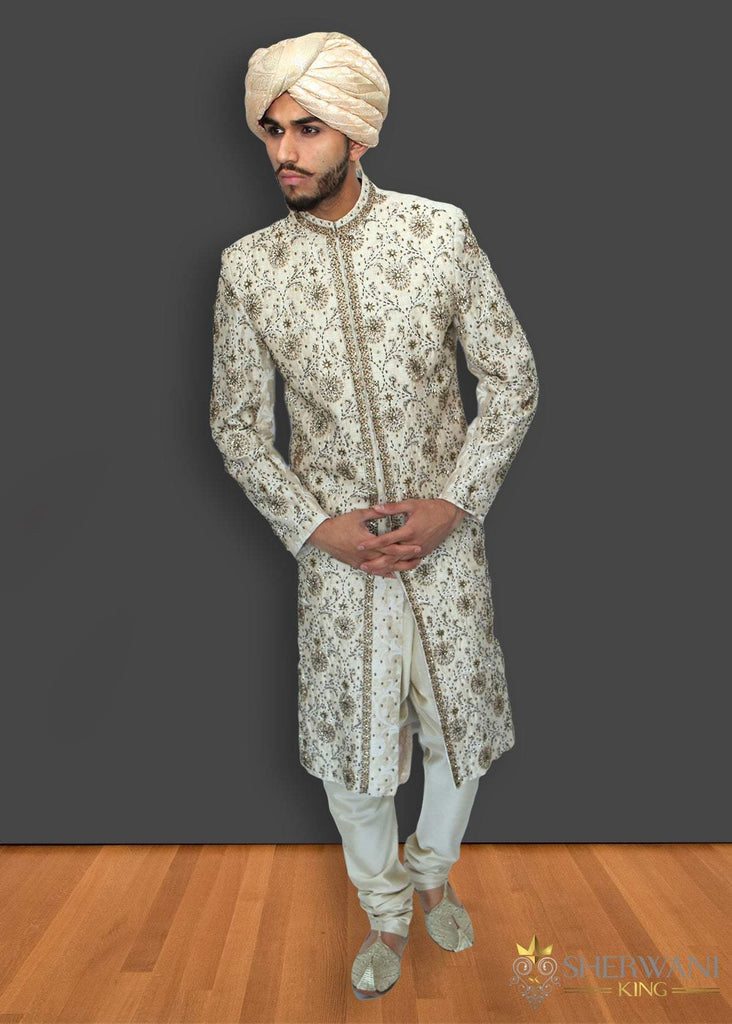 Off-White Sherwani With Green Embroidery