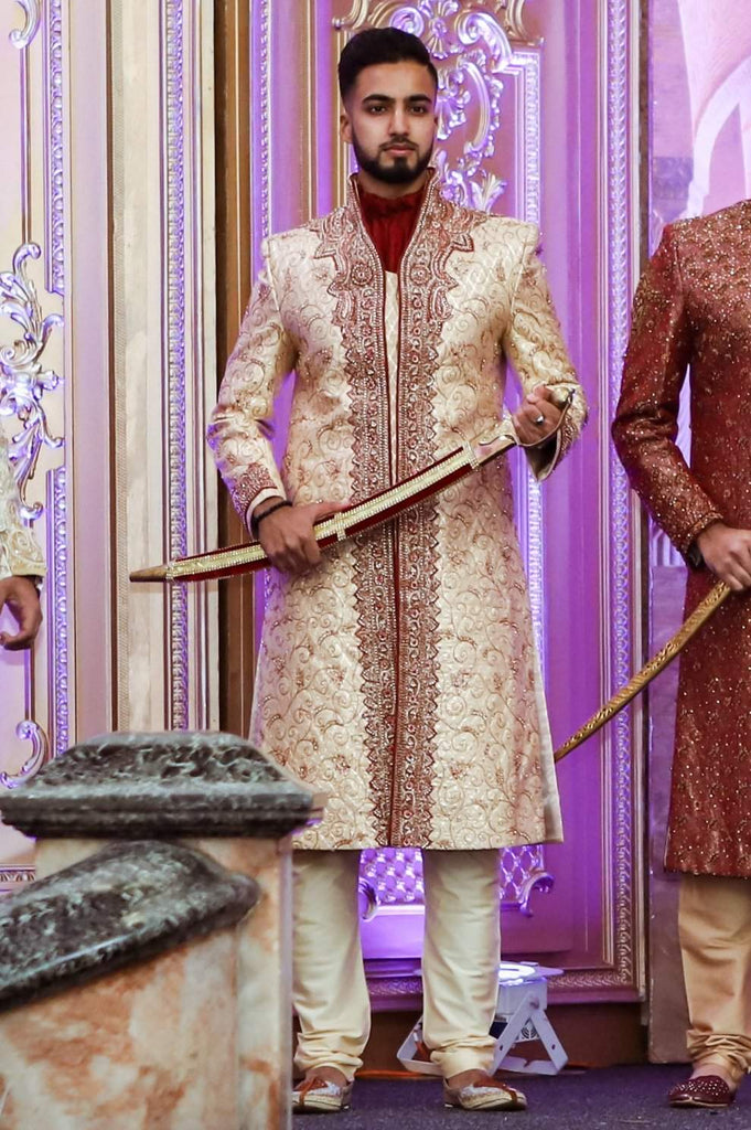 Gold Sherwani with Bronze Vines and Red Chest Piece