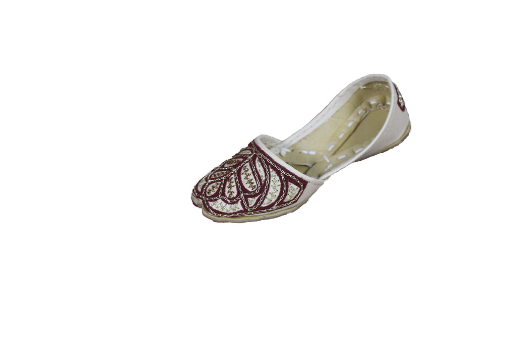 Boys Cream Mojari Khussa Shoe with Gold and Copper Embroidery - 6