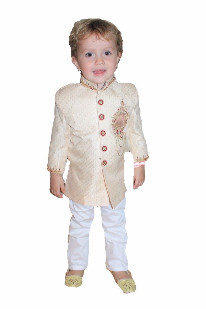 Boys Silk Sherwani in Rose Gold