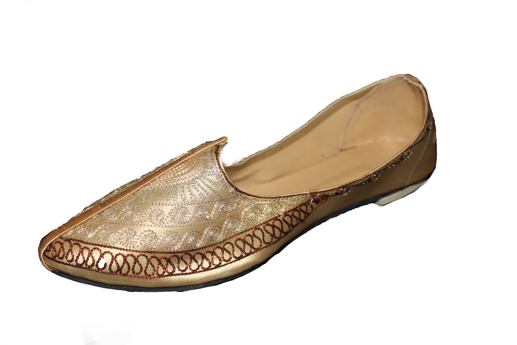 Noida - Gold,White and Brown Morjari Khussa Shoe