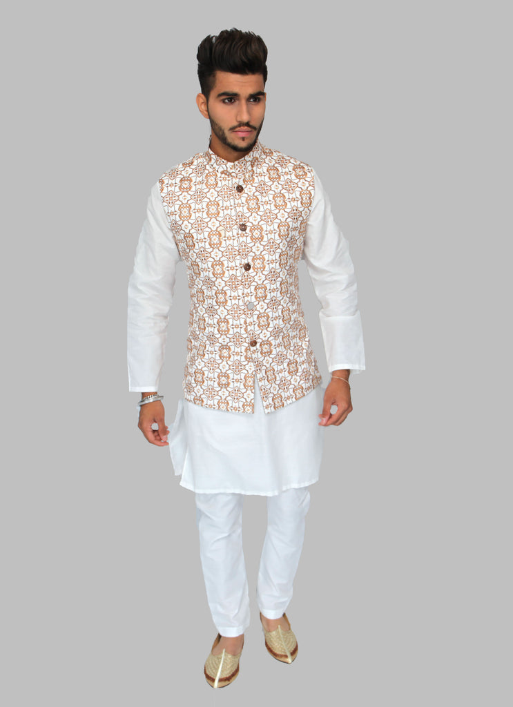 White Waistcoat with Intricate Gold and Brown Embroidery