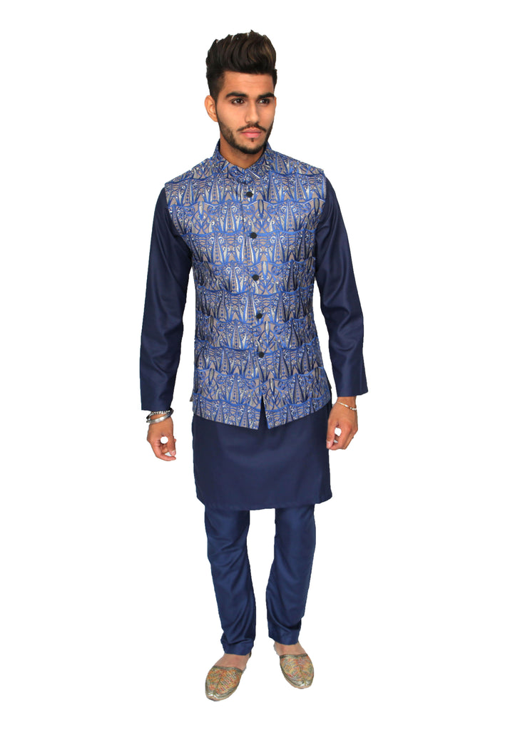Light Grey Waistcoat with Striking Midnight Blue and Silver Embroidery